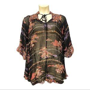 ASOS Sheer Top 3/4 Sleeves Floral Print Plus Size